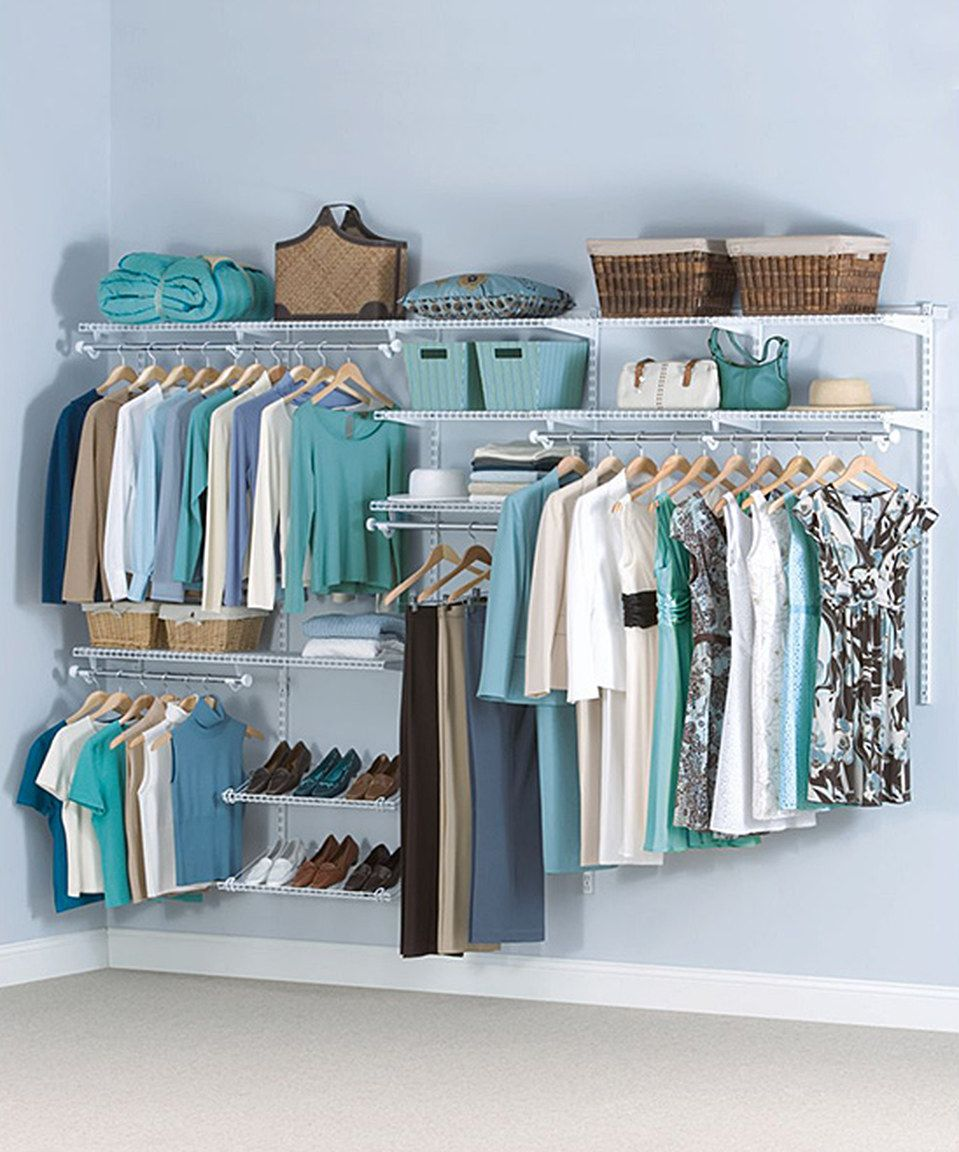 This Satin Nickel 6\' to 10\' Classic Custom Closet Set by Rubbermaid ...