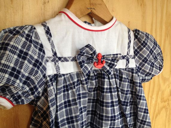 Vintage Blue & White Plaid Dress With Anchor Size 2T by vintapod