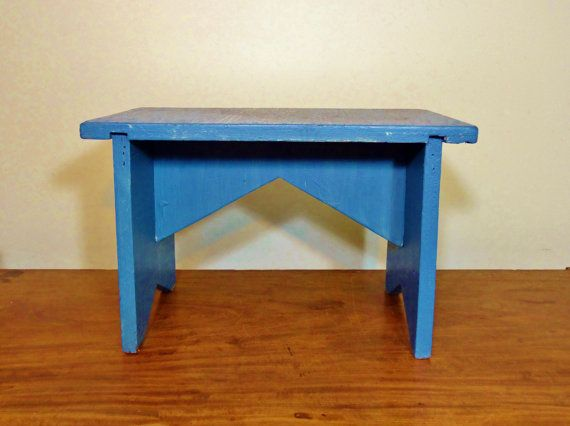 Vintage Wood Foot Stool or Small Bench, Blue Shabby Stool, Rustic Chippy Furniture