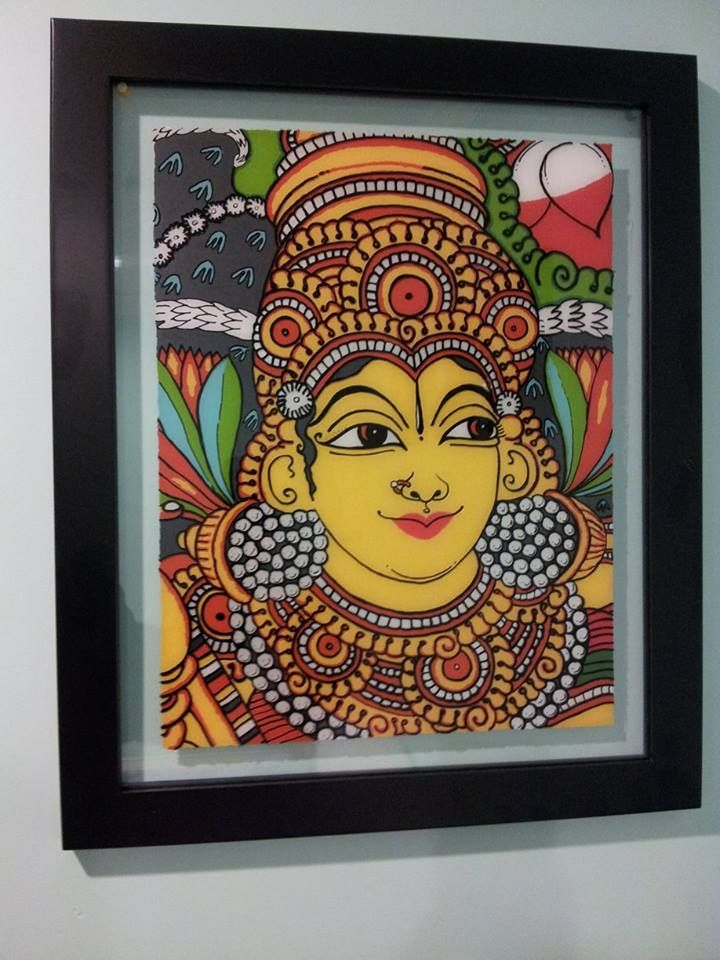 Kerala mural on glass surface reverse glass painting art Mural glass painting