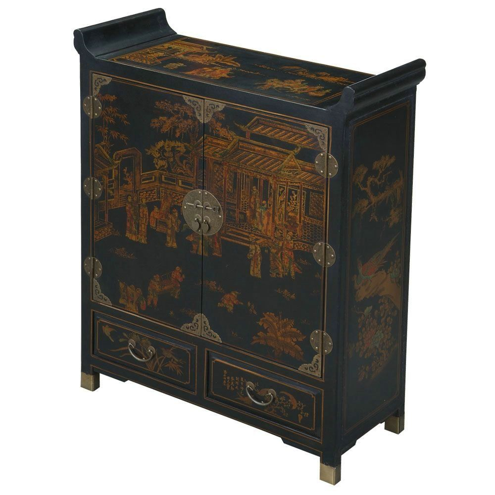 Amazon Com Exp Handmade Oriental Furniture 42 Inch Antique Style Pagoda Style Storage Cabinet Black Kit Oriental Furniture Unique Ceiling Fans Antique Style