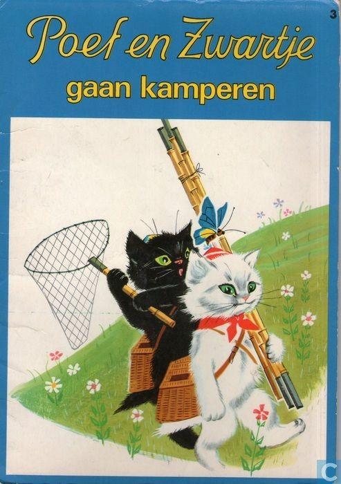 Poef En Zwartje Cats Illustration Vintage Cat Illustrators