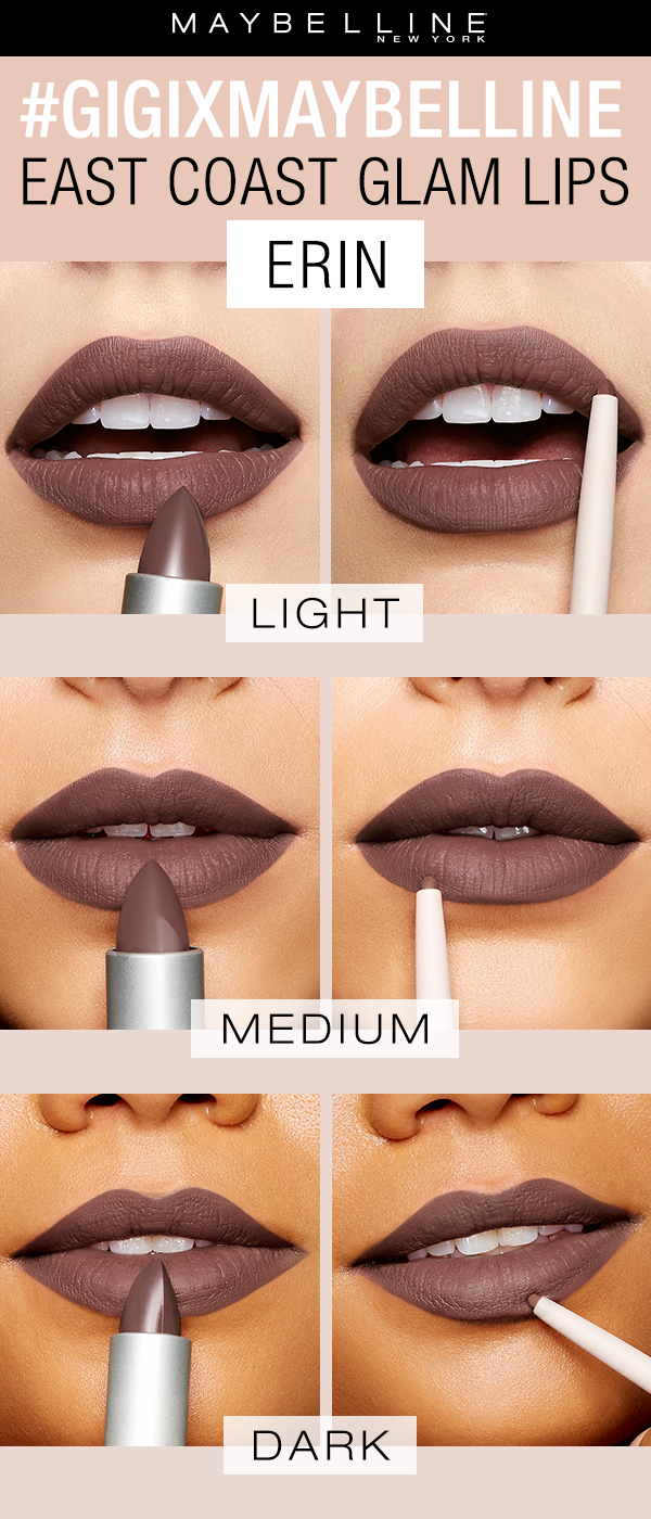 The gigixmaybelline East Coast Glam lipsticks come in 3 gorgeous cool toned nude shades.  Erin is a deep, purple toned nude that suits all complexions.  You can purchase as either a lip kit with a lipstick and a lip liner or the lipsticks and lip liners separately. Exclusively at Ulta Beauty!