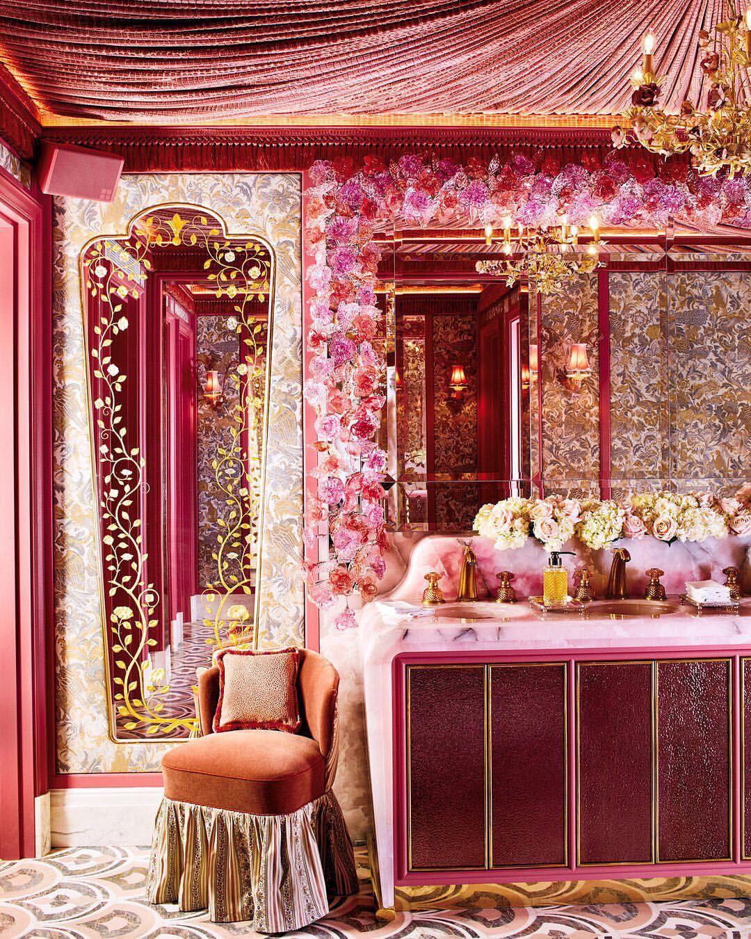 Elizabeth Taylor Meets Marie Antoinette In The Opulent Pink On Pink Ladies Powder Room At The Reinvented Anna Home Interior Design Best Interior Design Decor