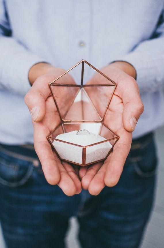 Glas Ehering Box Verlobungsring Box Weihnachtsbox Kupfer Silber oder Schwarz Schmuckschale geometrische Box leosklo