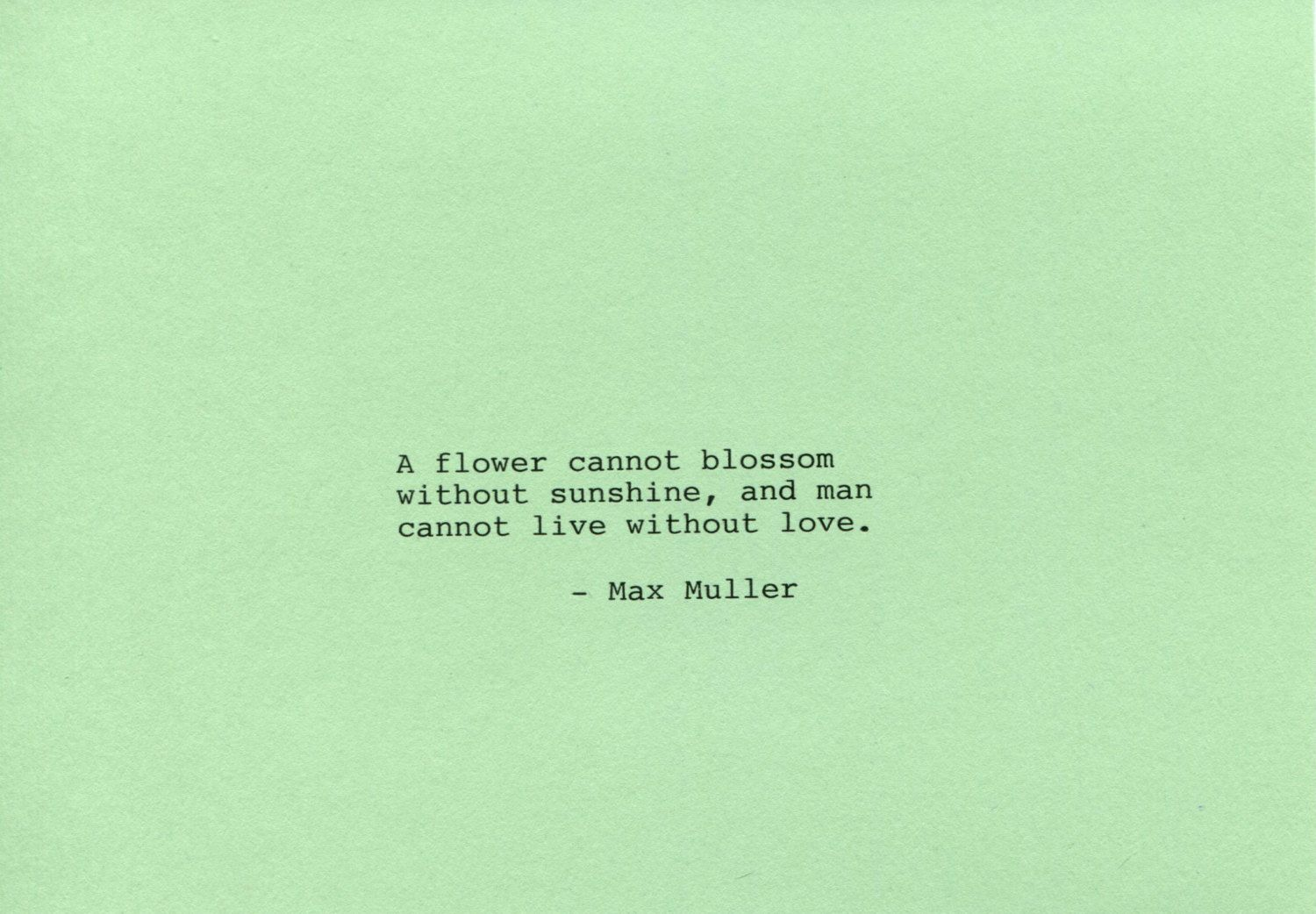 Max Muller Made on Typewriter  Art Quote Wall Art - A flower cannot blossom without sunshine and man cannot live without love. by FlightOfFancyPrints on Etsy