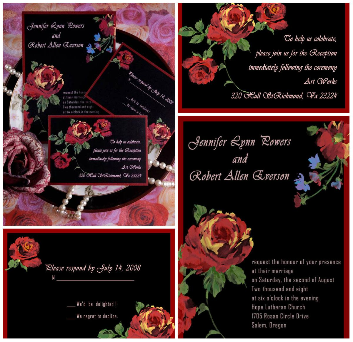 Elegant Rose wedding invitations EWI036 | Rose wedding, Wedding ...