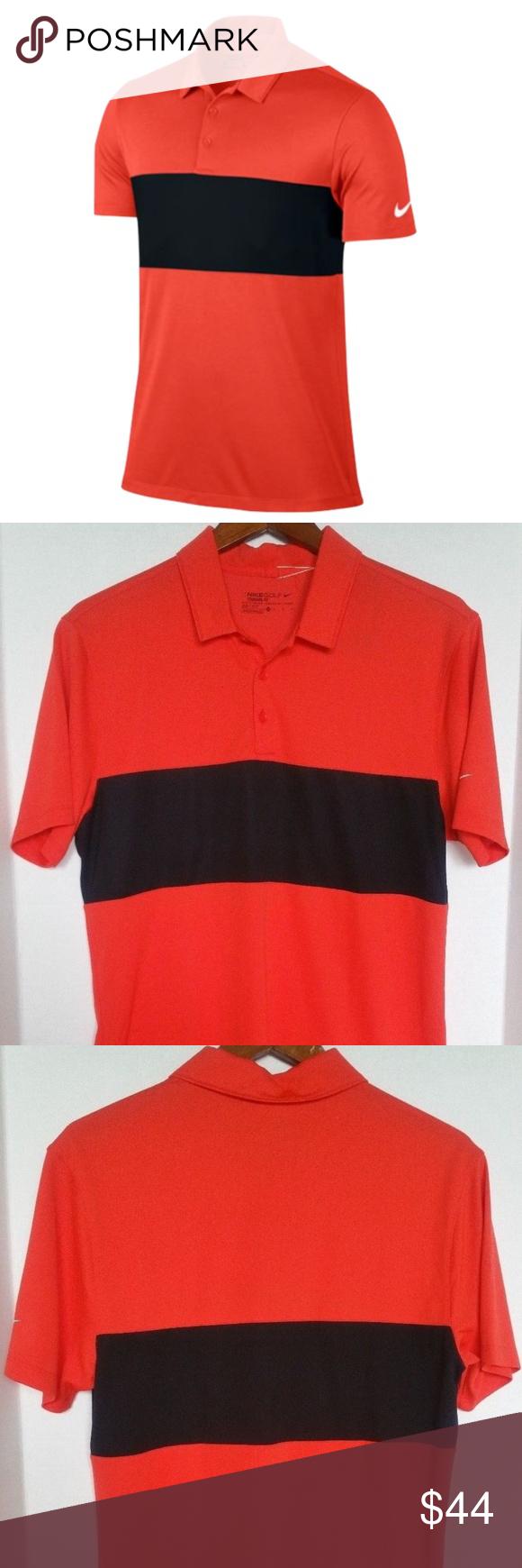 8a596ced0 Nike Men Breathe Red Black Polo Golf Dri Fit Shirt Nike Mens Breathe Block  Polo Golf