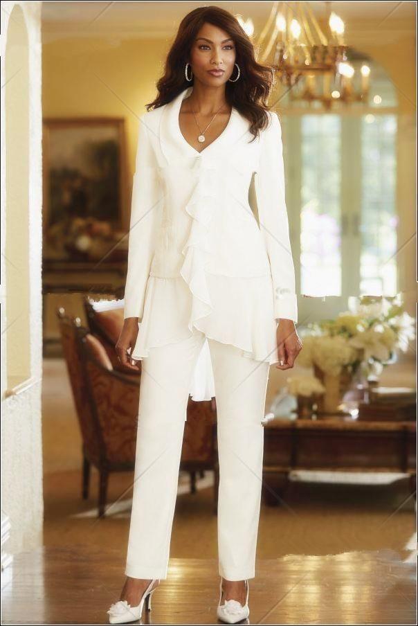 2015 Custom Made Ivory Chiffon Mother Of the Bride Jacket Pants ...