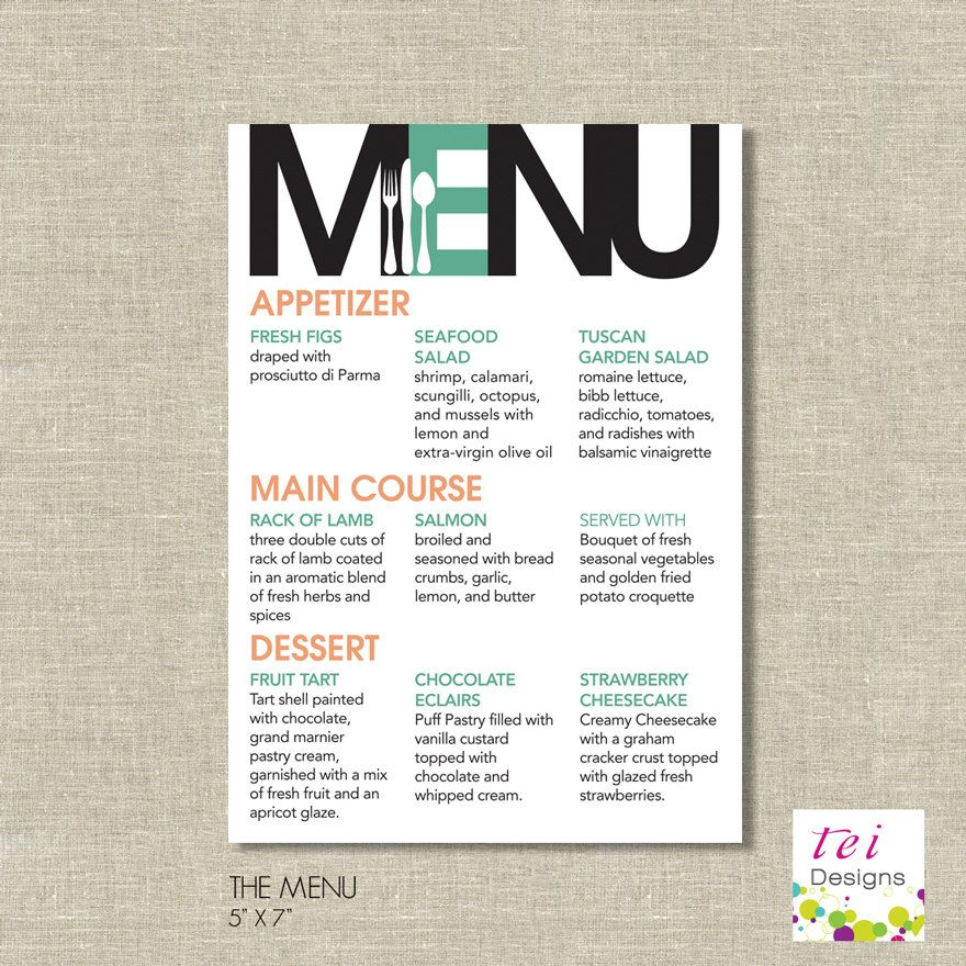 Printable Wedding MODERN Menu. $16.80, via Etsy. | wedding | Menu ...