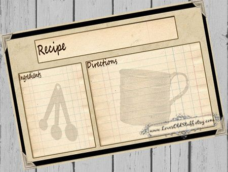 Printable Recipe Card 4x6 Rustic Recipe Cards For Bridal Shower
