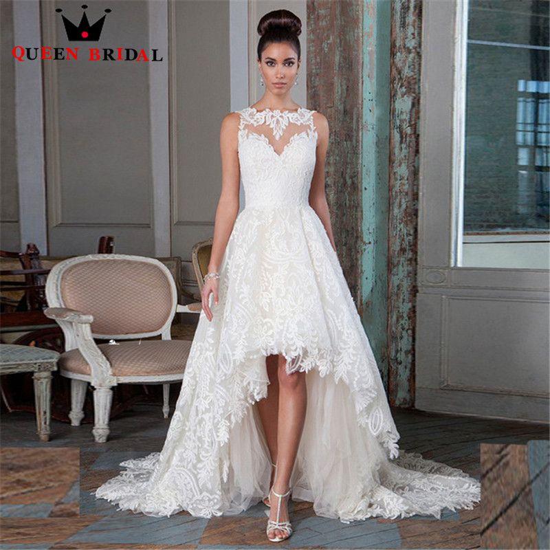 Latest Design Sleeveless Short Front Long Back Lace Wedding Dress