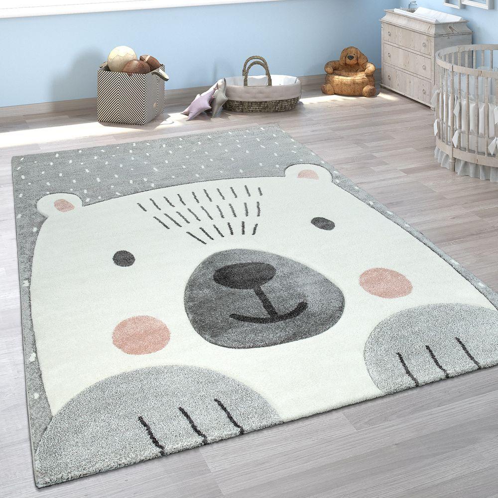 Kinder Teppich 3 D Design Baren Motiv Teppich Kinderzimmer Teppich Grau Weiss Kinder Zimmer