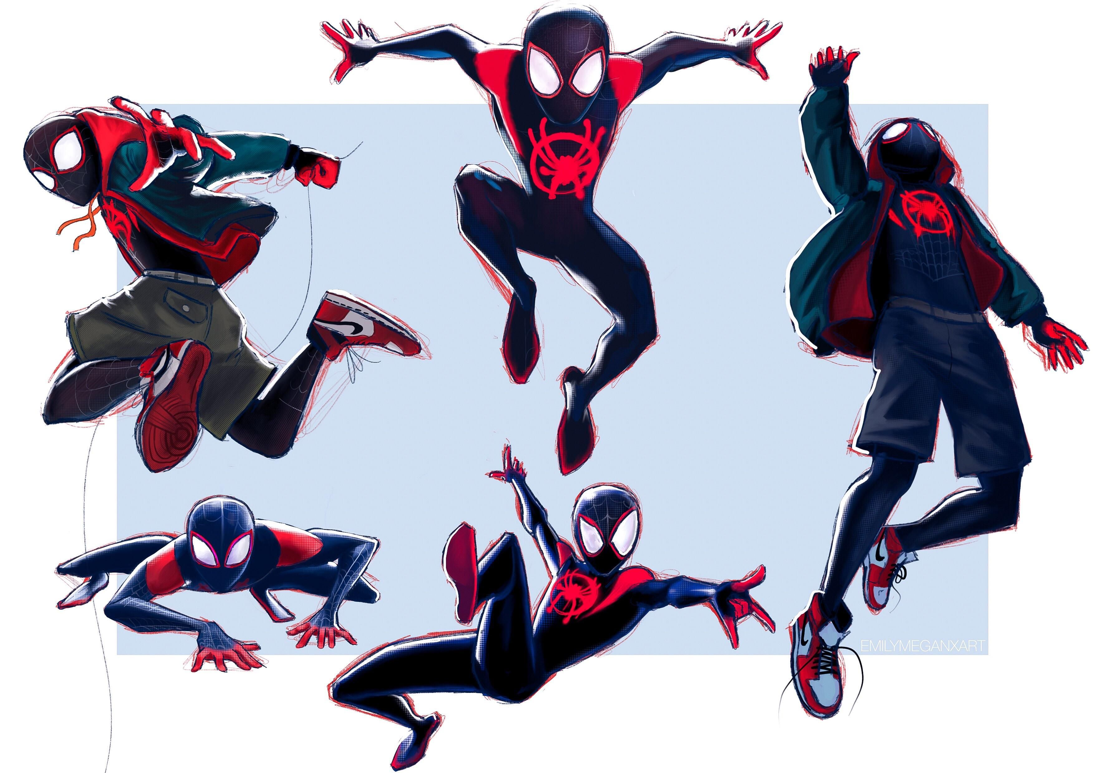 My Fan Art Study Sketches Of Miles Morales Spiderman Drawing Spiderman Sketches Spiderman Poses