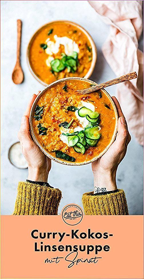 Curry-Kokos-Linsensuppe mit Spinat #CurryKokosLinsensuppe #Essen vegetarisch asi