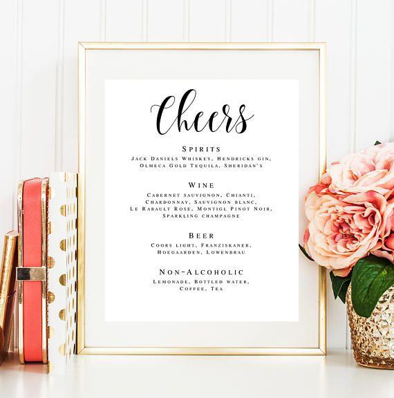 Cheers wedding sign Wedding bar template Cheers bar poster Cheers - bar menu template