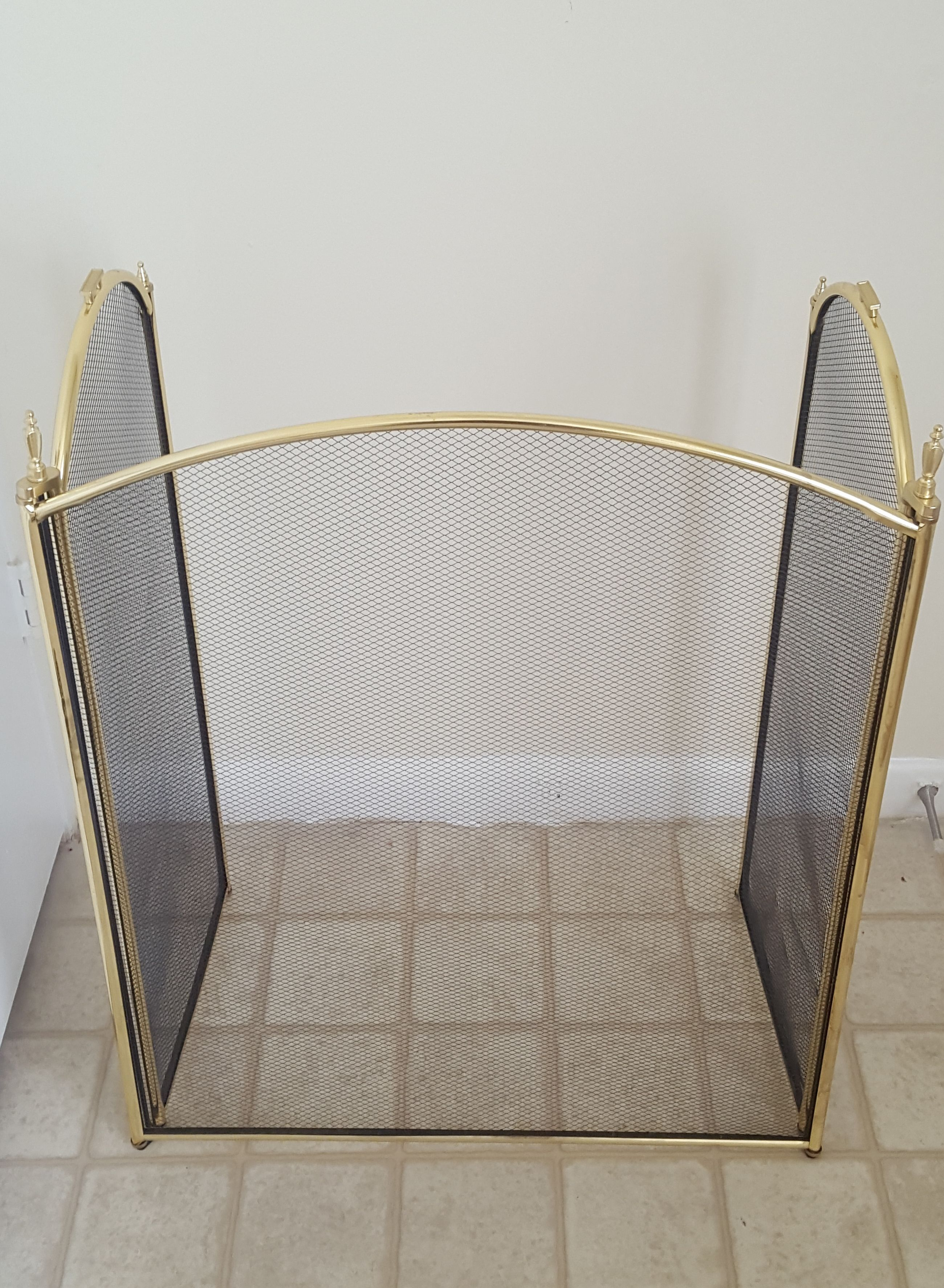 light weight gold colored 3 panel fireplace screen 55 obo vfd