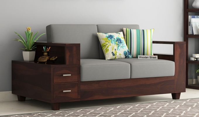 Buy Solace 2 Seater Wooden Sofa Walnut Finish Online In India With Images Living Room Sofa Design Wooden Sofa Wooden Sofa Set