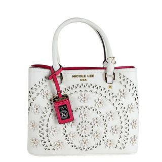 003b0a344e41 Shop for Nicole Lee Farley White Flowery Tote Bag . Get free delivery at  Overstock.
