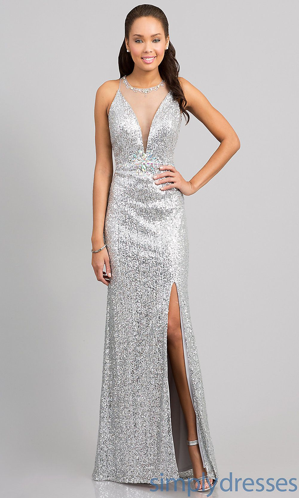 Dress floor length sleeveless sequin dress simply