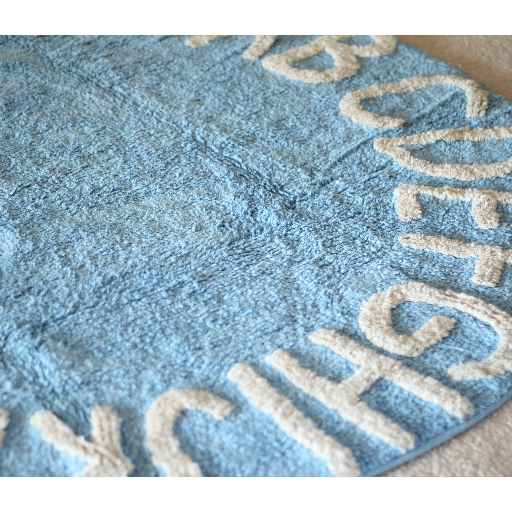 Blue Abc Alphabet Washable Rugs Round Nursery Rug 100 Cotton