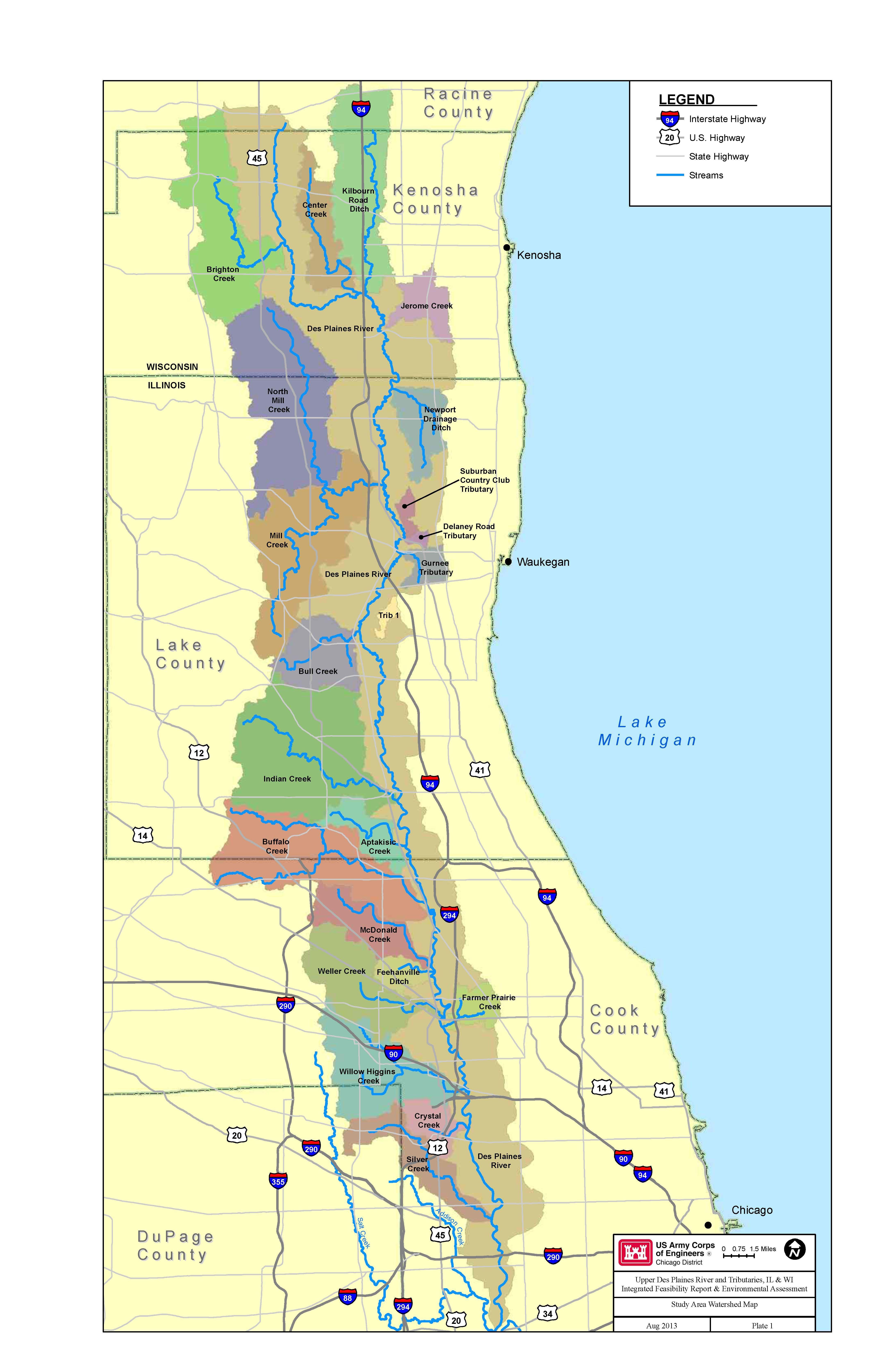 Des Plaines River System watershed map Maps Pinterest