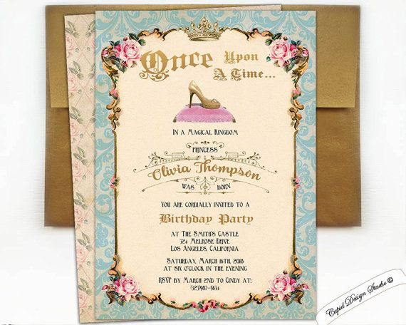 blue and gold Cinderella invitation Cinderella by CupidDesigns