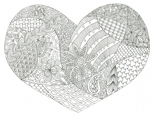 Valentine 39 s day adult coloring adult coloring holidays for Valentine coloring pages for adults