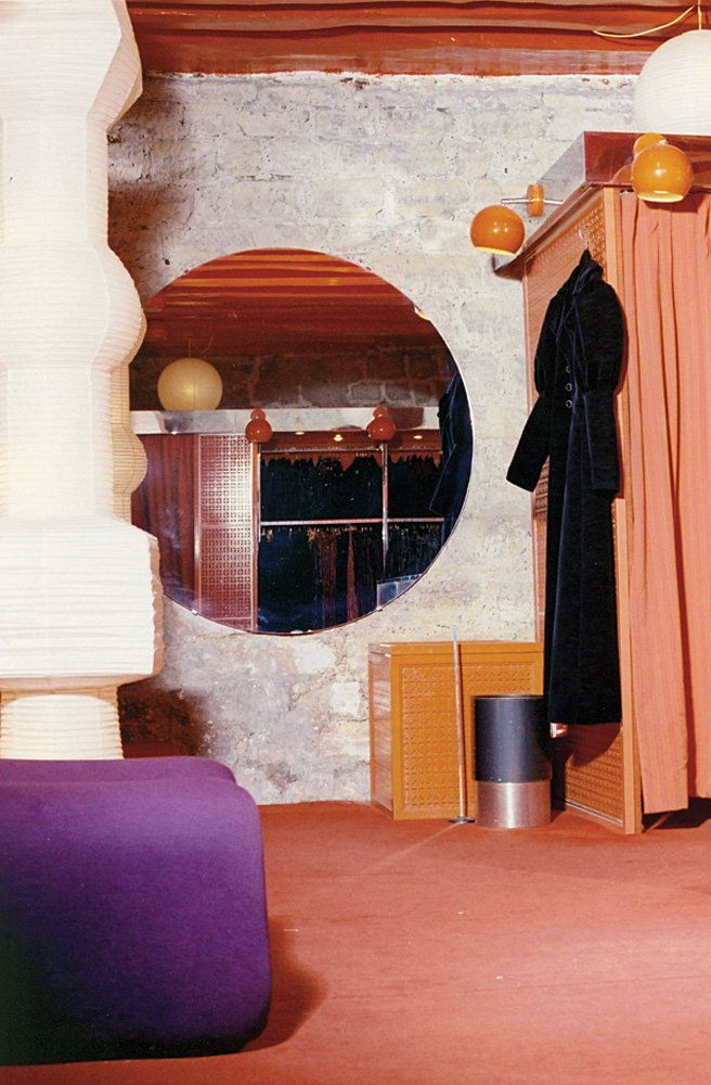 Yves Saint Laurent Rive Gauche interior. Oh wow, the carpet, the textures, the purple....lovely.