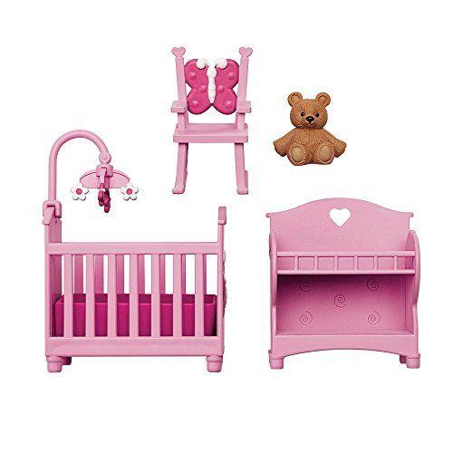 You Me Happy Together Dollhouse Furniture Set Pink Nursery