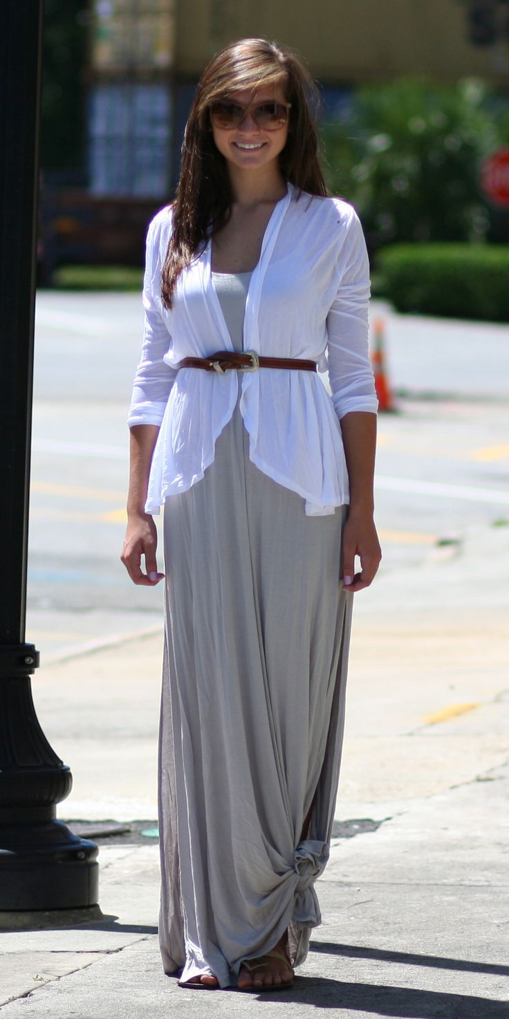 Transition Outfit: Grey Maxi Dress (knotted) & White Tissue ...