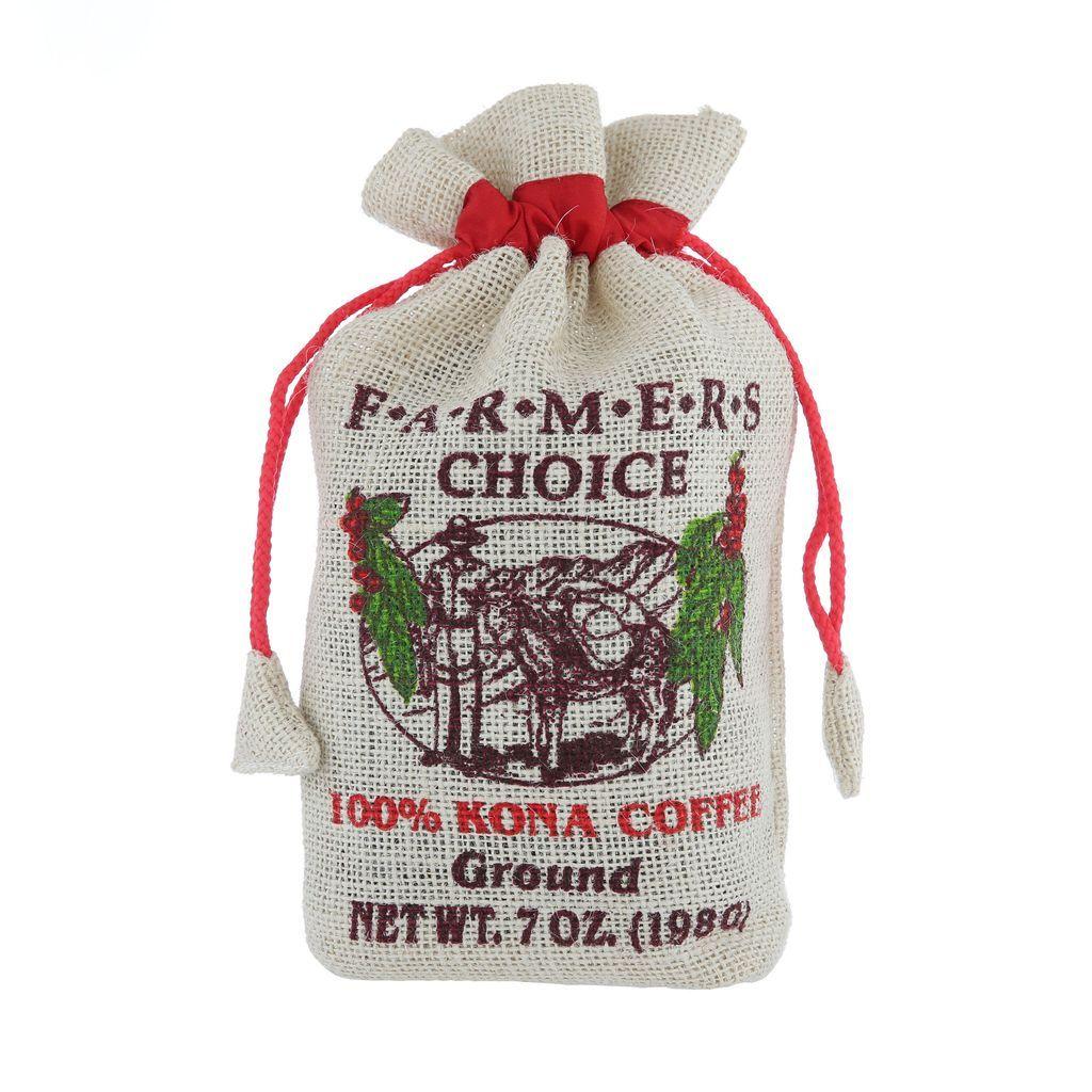 Farmers choice 100 kona coffee burlap bag with images
