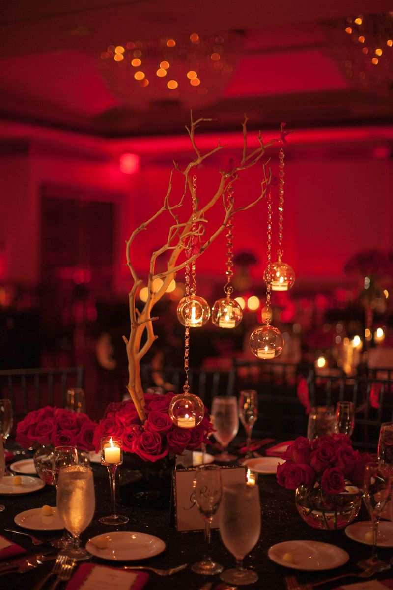 Black & Red Wedding Centerpieces Red