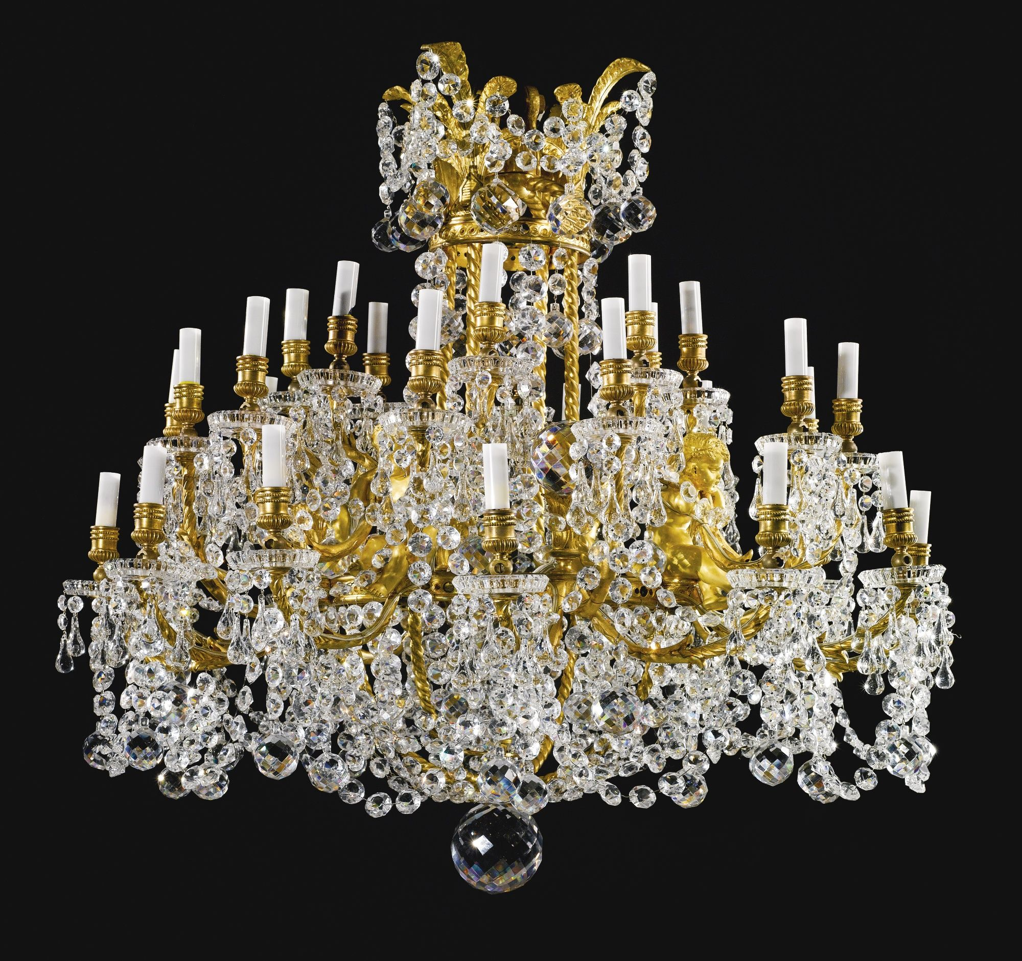 CRISTALLERIES DE BACCARAT A LARGE GILT BRONZE, CUT CRYSTAL AND MOLDED GLASS THIRTY-THREE LIGHT CHANDELIER BACCARAT, FRANCE, SECOND HALF 19TH CENTURY