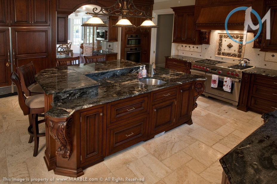 Cosmic Black is used throughout this beautiful kitchen, most notably ...