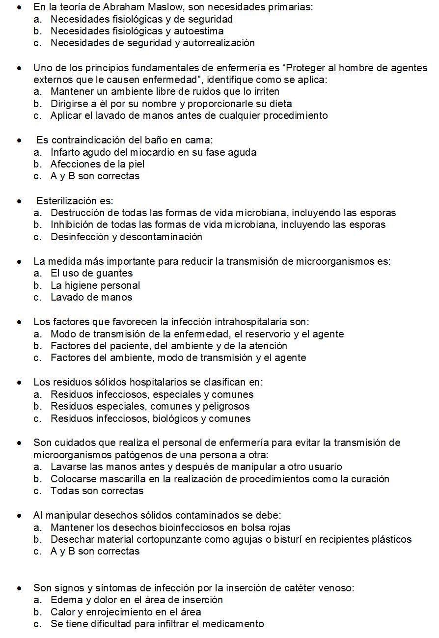 CLASES FUNDAMENTOS DE ENFERMERIA: Preguntas de Examen | ana ...