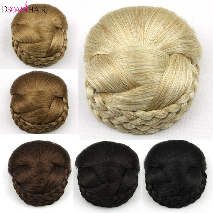 1pcs Big Braided Bun Synthetic Hair Hairpiece Updo Styled In A Top Knot Low Bun Bun Hairstyles Braided Bun Hairstyles Fake Hair Buns