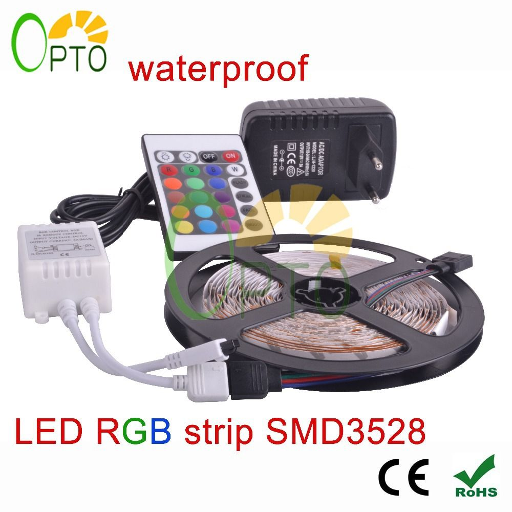 Waterproof Led Rgb Strip Light Smd3528 Ip65 Fiexble Light 60led M 5m Dc 12v Adapter Power 2a Free Shippi Led Strip Lighting Waterproof Led Rgb Led Strip Lights