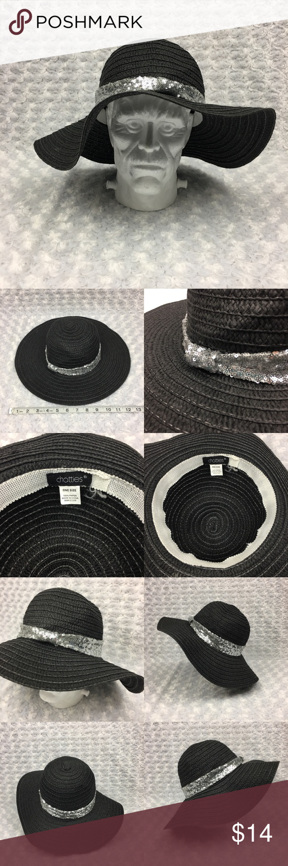 03c2d407589 Floppy Wicker Hat w Silver Sequins RN 121229 Chatties Brand Black Floppy Wicker  Hat with Silver Sequins One Size RN 121229 Size  One Size Condition  Gently  ...