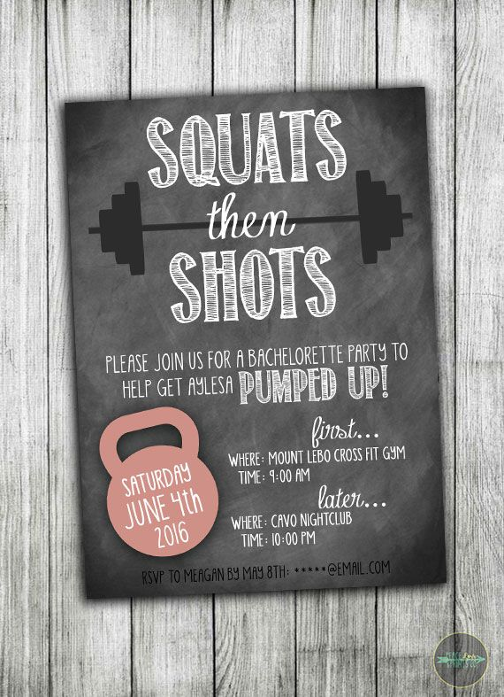 Squats then shots! Perfect for an fitness-enthusiast bride-to-be! See more fitness and crossfit inspired invitations at Peace Love Prints Co. Etsy.com.