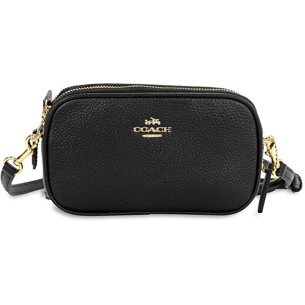 b75f9e9ec33d Coach Crossbody Pebbled Leather Pouch- Light Gold Black Coach ( 75) ❤ liked  on Polyvore featuring bags