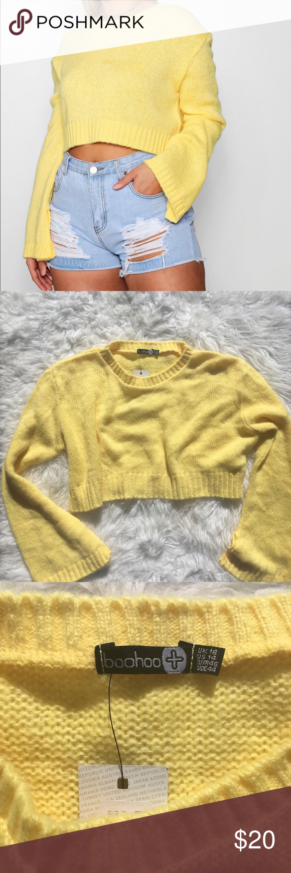 Boohoo Plus Dina Crop Jumper- Yellow Cropped, crew neck