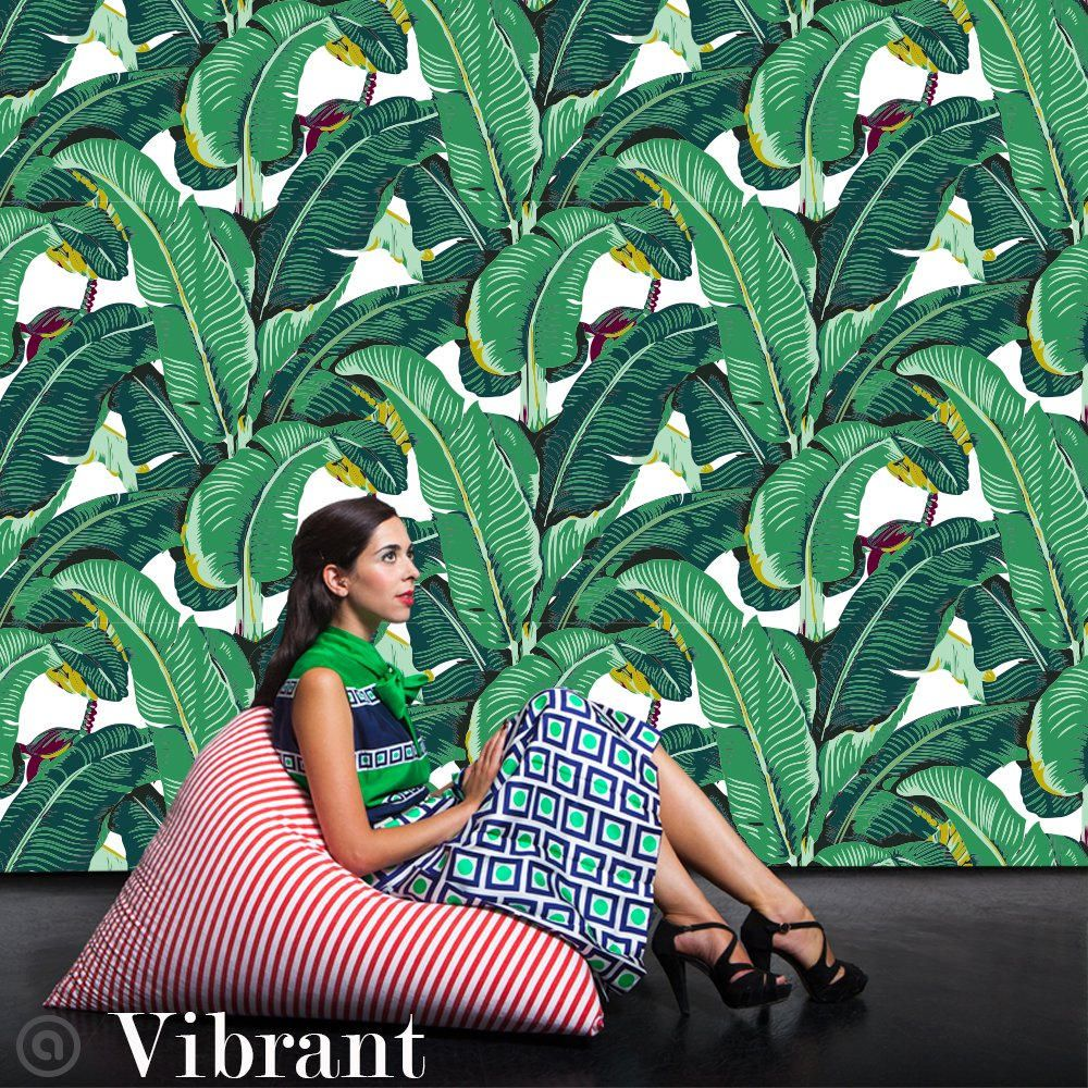 This wall is dressed in our tropical Banana Leaf pattern