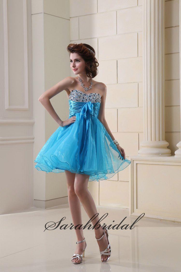 Sky Blue/Royal Blue/Lilac/White/Pink/Yellow Organza Beaded Short ...