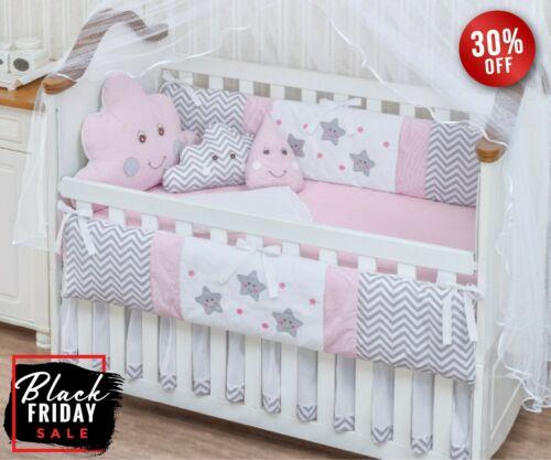 Raindrop Cloud Star Pink Baby Girl 08 Pc Nursery Crib Bedding Set Embroidered Baby Girl Crib Bedding Crib Bedding Girl Crib Bedding