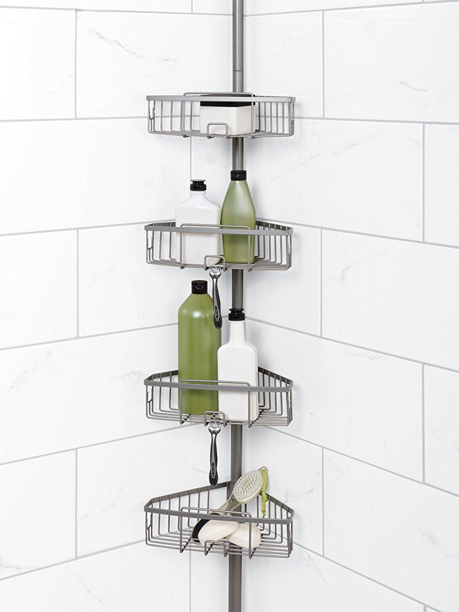 Zenna Home 2131nn Tension Corner Pole Caddy Satin Nickel Shower Caddy Corner Shower Caddy Shower Storage