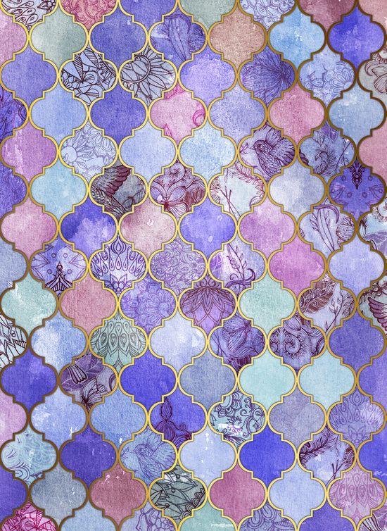 Royal Purple, Mauve & Indigo Decorative Moroccan Tile ...