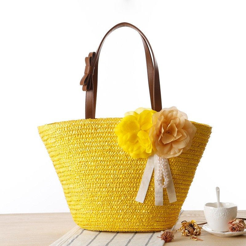 5662cdedc Yellow Straw Beach Bag Summer Flower Recycle Tote Bag . #vintagegirl #bag  Honeymoon #