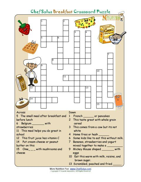 Printable Crossword Puzzles For Kids From Nourish Interactive Click To Print This Fun Nutrition Education