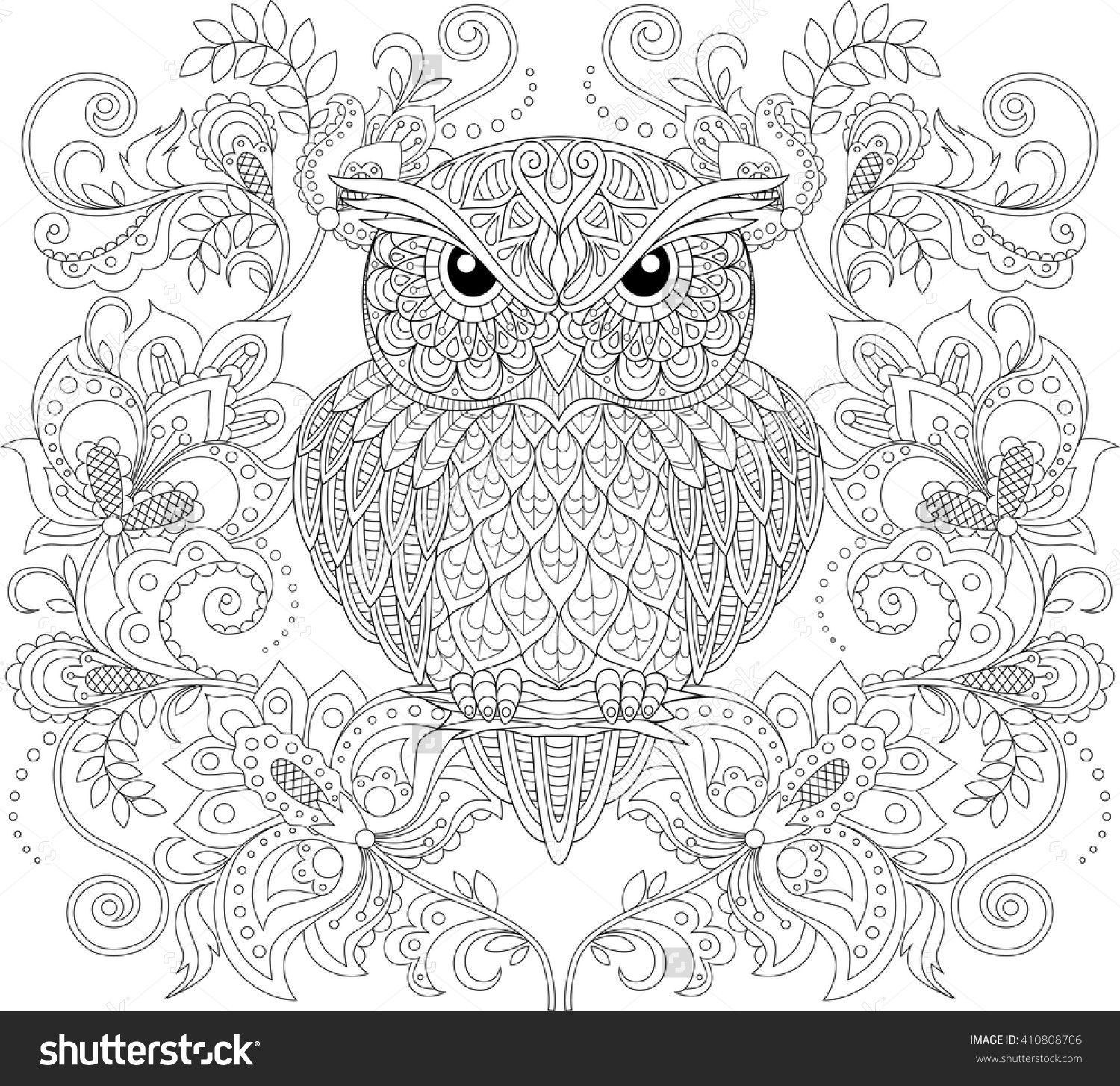 Owl And Floral Ornament. Adult Antistress Coloring Page ...